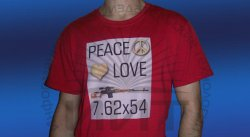Футболка Peace Love и винтовка Драгунова